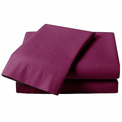Just Contempo Plain Percale Fitted Sheet, Single, Aubergine