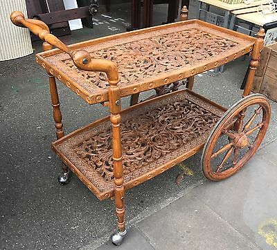 1960's Carved Oak Tea Trolley from India