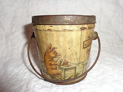 Antique Three Little Pigs Lidded Peanut Butter Tin with Handle, Vintage