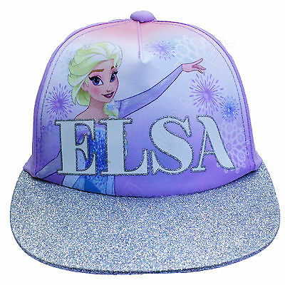 Licensed Girls Disney Frozen Elsa Purple Silver Peak Baseball Cap Age 4-8 Years