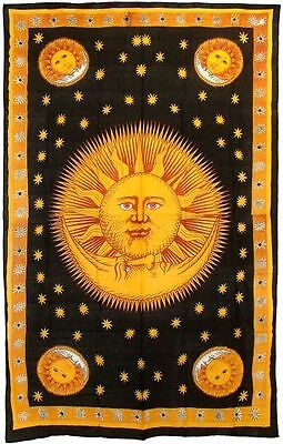 Celestial Gold Sun and Moon Bedspread Tapestry