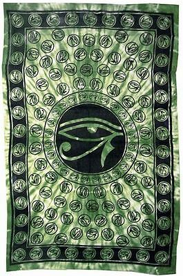Egyptian Eye of Horus Green Bedspread Tapestry