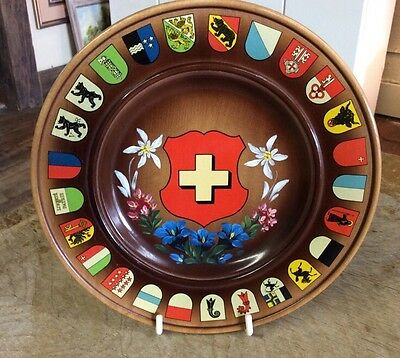 Vintage Schmid-Linder SWITZERLAND Wood Souvenir Plate COAT OF ARMS Cantons
