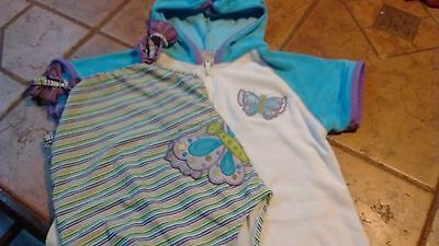 Girls size 6 butterfly one piece swim suit and matching cover up