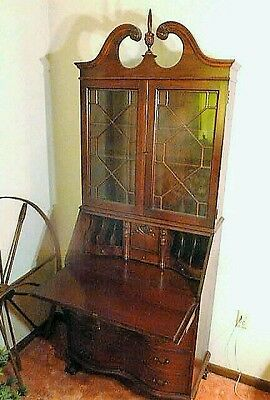 Antique Mahogany Federal Chippendale Style Secretary Bookcase