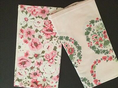 2 Vintage Printed Tablecloths - Pink And White Floral G7