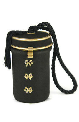 Brevette Barrel Compact Carry All Minaudiere Black Suede Goldtone Hardware Bows