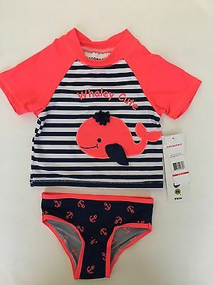 NEW Wippette Toddler Girls Swimsuit With Rash Guard - 2 Pieces Size 3T