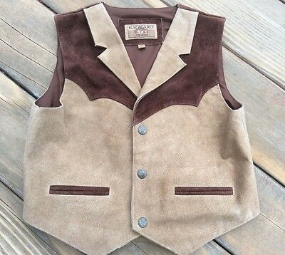 Saguaro West by Roper Childs Brown Suede Leather Western Vest XL