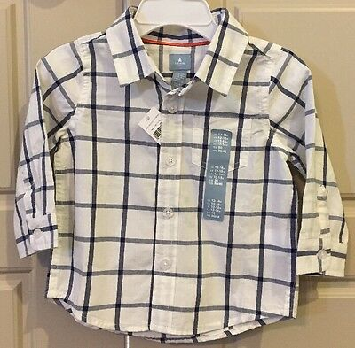 NWT Boys Gap Blue Plaid White of Sleeve Button Up Shirt Size 12-18 Months