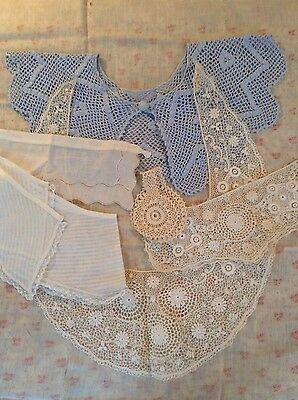 Estate Victorian to 1930's lace & crochet collars,cuffs,bib,apron,blouse LOT