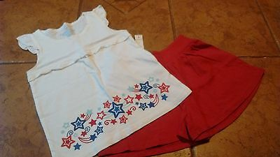 Girls 4th of July summer short and shirt outfit size 6 NWT