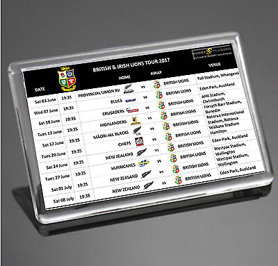 British & Irish Lions Fixture Dates Rugby New Zealand Tour 2017 Fridge Magnet
