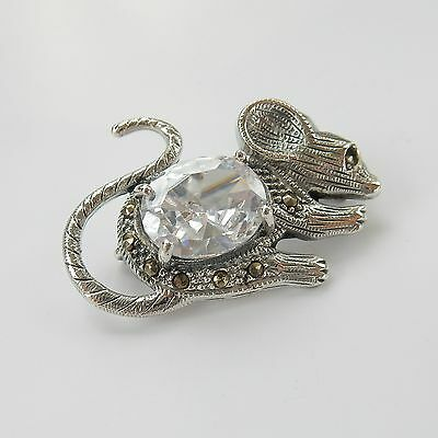 Vintage 925 Silver Marcasite & Paste Stone Field Mouse Brooch Hallmarked