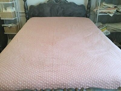 "Vintage Chenille - Pink And White With Pom Poms ""Bates"""