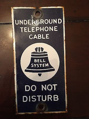 Antique Porcelain Underground Telephone Cable Bell System Do Not Disturb Sign
