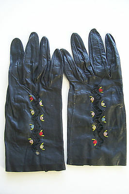 Vintage Black Embroidered Kid Leather Gloves Womens Ladies size small