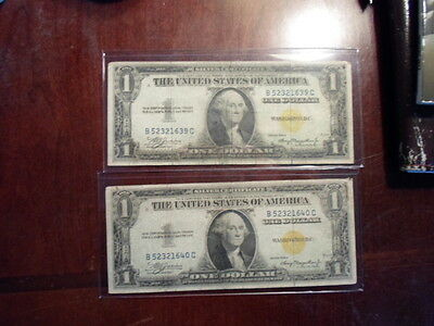 lot of 2 1935A one dollar consecutive north africa silver certificates new pics
