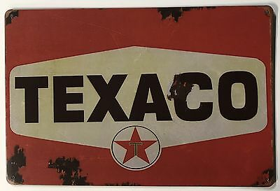 "Texaco Sign, Distressed Reproduction, Red Rust 8"" x 12"""