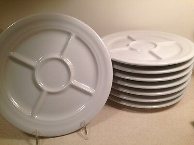 (8) Shenango Resturaunt White Rimrol Welroc  Divided Plates ~ RARE