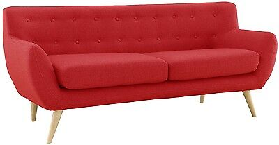 Sofa Red Retro Couch Button Tufted Vintage Style 50s Mid-Century Danish Modern
