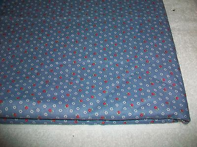 Small Red & White Flowers On Slate Blue Cotton Quilt Fabric