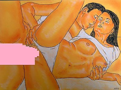 Original Erotic Drawing - ' Ace Lovers '  - * See Extra Pic..