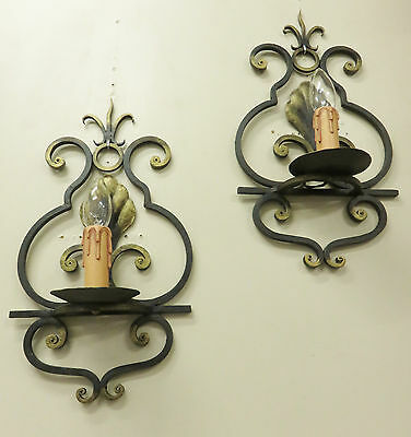 Superb Large Pair Vintage French Wall Lights Sconces Wrought Iron Appliques Fer