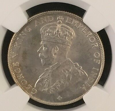 1921 Straits Settlements 50 Cents Ngc Ms64 Pop.52