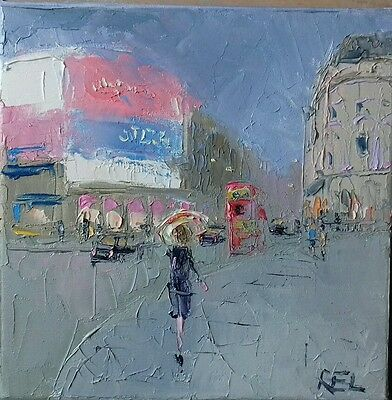 Piccadilly-London-oil on canvas -original painting-night-bus-brolley