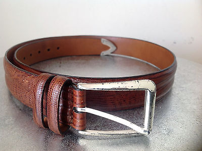 Trafalgar Men's Brown Leather Snakeskin Print Belt Size 34/85