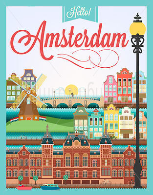Hello Amsterdam Large Metal Tin Sign Poster Wall Plaque