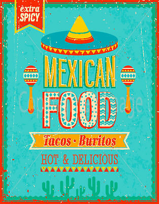 Mexican Food Large Metal Tin Sign Poster Wall Plaque