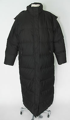 L.L. BEAN Goose Down quilted black long hooded puffer jacket coat women's MEDIUM