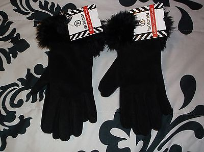 NWT Isotoner Black Casual Stretch Fleece Gloves Lot of 2 Pairs
