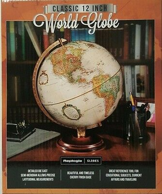 Replogle World Globe Classic 12 Inch/30.5 cm Up-to-Date Accuracy Antique Earth 1
