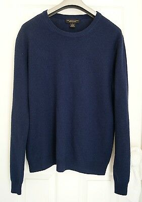 BLOOMINGDALE'S FOR MEN 100% cashmere sweater L navy blue pullover crew neck