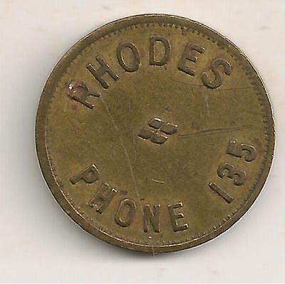 Columbia City, Ind Trade Token, Rhodes, Phone 135, Good For 5¢ In Trade