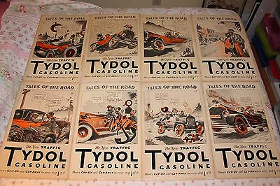 Lot of 8 Rare Vintage TYDOL TALES OF THE ROAD POSTERS Advertising Gasoline