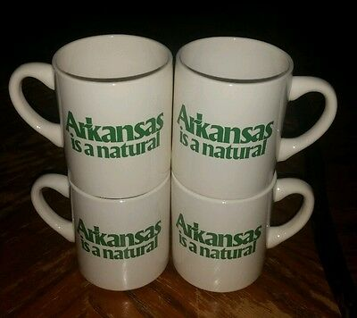 Vintage Set Of 4 Arkansas Is A  Natural Coffee Cups  Retro Cool Ar State Mugs