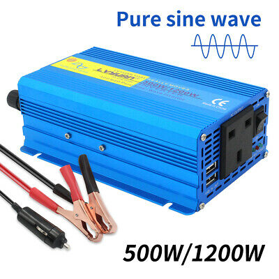 Pure Sine Wave 500W 1200W Power Inverter 12V DC to 240V AC CAR CARAVAN CAMPING