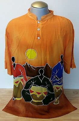 Into Africa Hand Painted Shirt Drummers Mandarin Collar Xl Mother Pearl Button
