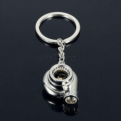 Auto Car Turbo Keychain Sleeve Bearing Spinning Turbine Key Chain Ring Keyfob