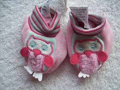 BNWT Baby Girl's Pumpkin Patch Owl Velour Booties Size XS