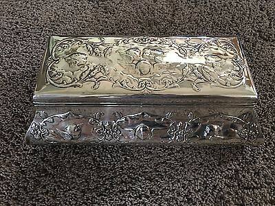 William Comyns Sterling Silver Repousse Cherub Angel Large Jewelry Box 10.5""