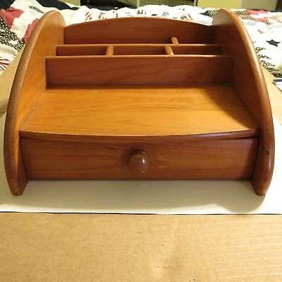 Vintage Wood Desktop organizer with 5 cubbies and a drawer