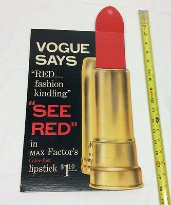 1950s Red Lipstick Counter Easel Display Card Store Sign Vogue Max Factor 18""