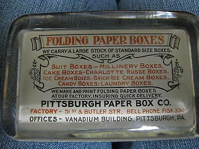 Vintage ADVERTISING PAPERWEIGHT PITTSBURGH PAPER BOX CO.