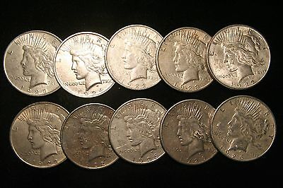 10 (Ten) Peace Silver Dollars US Coin lot, Circulated  (101)
