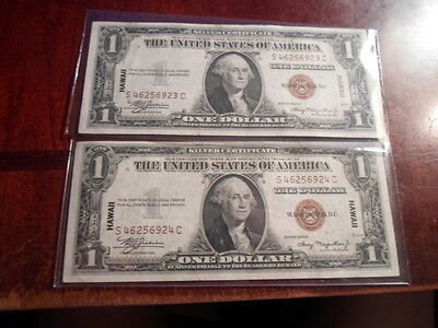 LOT of 2 1935A HAWAII one dollar silver certificates with consecutive serial #s